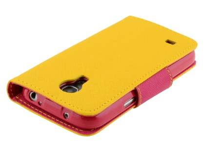 Mercury Goospery Colour Fancy Diary Case with Stand for Samsung Galaxy S4 Mini - Yellow/Hot Pink