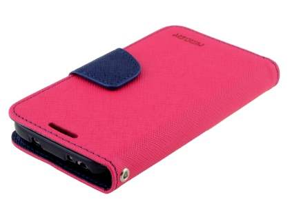 Mercury Goospery Colour Fancy Diary Case with Stand for Samsung Galaxy S4 Mini - Hot Pink/Navy