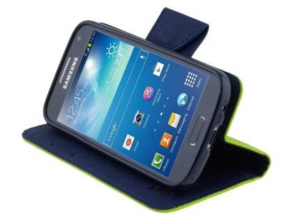 Mercury Goospery Colour Fancy Diary Case with Stand for Samsung Galaxy S4 Mini - Lime/Navy