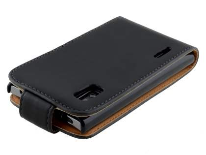 Synthetic Leather Flip Case for LG Optimus L5 E610 - Black