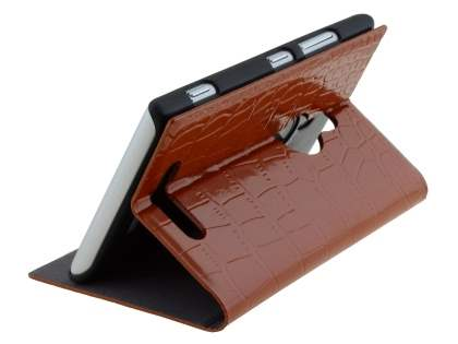 TS-CASE crocodile pattern Genuine leather Book-Style Case for Nokia Lumia 925 - Brown