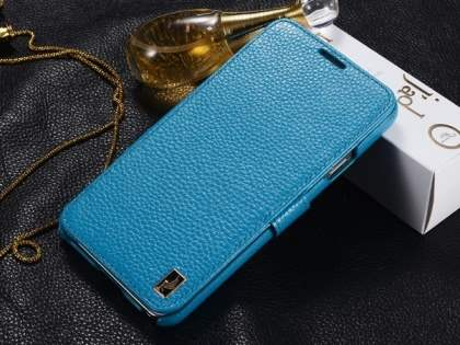 k-cool Slim Genuine Leather Wallet Case for Samsung Galaxy Note 3 - Blue Leather Wallet Case