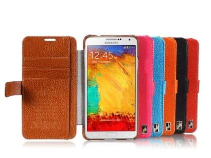 k-cool Samsung Galaxy Note 3 Slim Genuine Leather Wallet Case - Blue