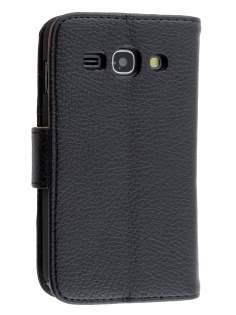 Synthetic Leather Wallet Case with Stand for Samsung Galaxy Ace 3 - Classic Black Leather Wallet Case