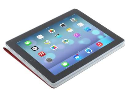 Premium Genuine Leather Slim Portfolio Case with Stand for iPad Air 1st Gen - Red