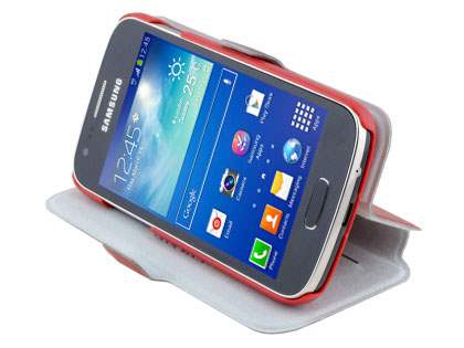 Slim Genuine Leather Portfolio Case for Samsung Galaxy Ace 3 - Red