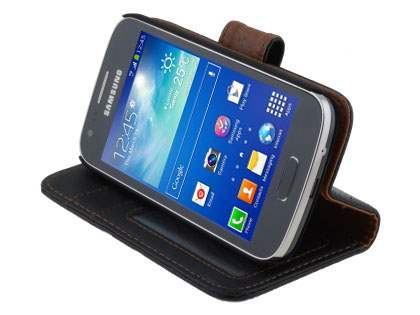 Samsung Galaxy Ace 3 Synthetic Leather Wallet Case with Stand - Classic Black