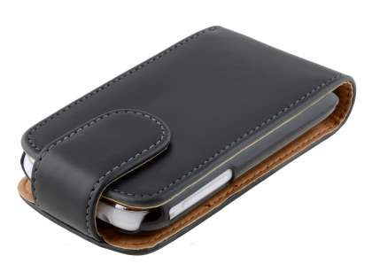 Samsung Galaxy Pocket S5300 Synthetic Leather Flip Case - Black