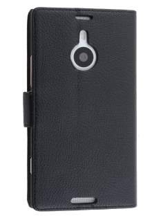 Synthetic Leather Wallet Case with Stand for Nokia Lumia 1520 - Classic Black Leather Wallet Case