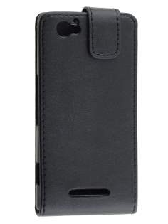 Sony Xperia M Synthetic Leather Flip Case - Classic Black