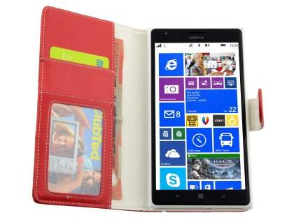 Nokia Lumia 1520 Slim Synthetic Leather Wallet Case with Stand - Red