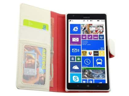 Nokia Lumia 1520 Slim Synthetic Leather Wallet Case with Stand - Pearl White