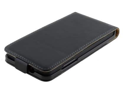 LG Google Nexus 5 Slim Genuine Leather Flip Case - Classic Black