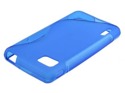 Wave Case for LG Optimus F3 - Frosted Blue/Blue Soft Cover