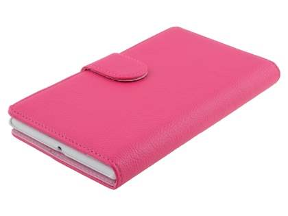 Nokia Lumia 1520 Slim Synthetic Leather Wallet Case with Stand - Pink
