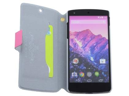 LG Google Nexus 5 Slim Genuine Leather Portfolio Case - Pink
