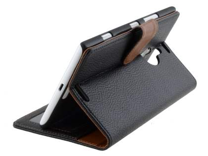 Nokia Lumia 1520 Slim Synthetic Leather Wallet Case with Stand - Classic Black