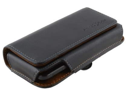Extra-tough Genuine Leather ShineColours belt pouch for HTC Desire 300 - Classic Black