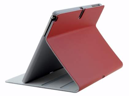 Premium Genuine Leather Slim Portfolio Case with Stand for Samsung Galaxy Note 10.1 (2014 Edition) - Red Leather Flip Case