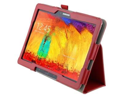 Synthetic Leather Flip Case with Fold-Back Stand for Samsung Galaxy Note 10.1 (2014 Edition) - Red Leather Flip Case