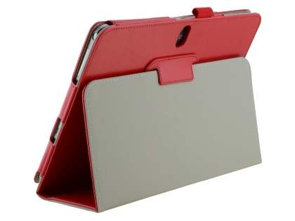 Samsung Galaxy Note 10.1 (2014 Edition) Synthetic Leather Flip Case with Fold-Back Stand - Red