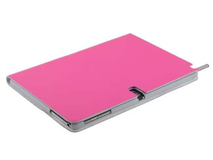 Premium Genuine Leather Slim Portfolio Case with Stand for Samsung Galaxy Note 10.1 (2014 Edition) - Pink