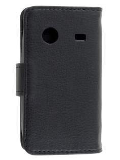 ZTE T790 Telstra Pulse Synthetic Leather Wallet Case - Classic Black Leather Wallet Case