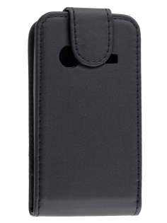 Synthetic Leather Flip Case for ZTE T790 Telstra Pulse - Classic Black Leather Flip Case