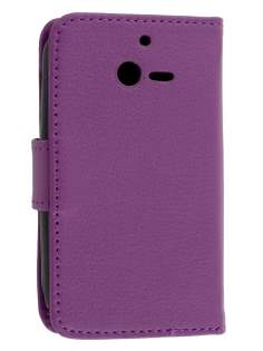 Synthetic Leather Wallet Case for Huawei Ascend Y201 Pro - Purple Leather Wallet Case