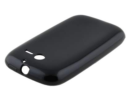 Frosted Colour TPU Gel Case for Huawei Ascend Y201 Pro - Classic Black Soft Cover