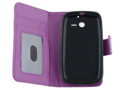 Synthetic Leather Wallet Case for Huawei Ascend Y201 Pro - Purple