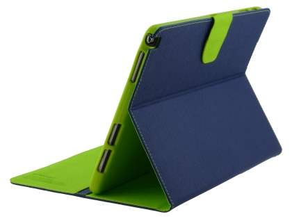 Mercury Colour Fancy Diary Case with Stand for Samsung Galaxy Note 10.1 (2014 Edition) - Navy/Lime Leather Flip Case