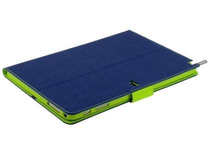 Mercury Goospery Colour Fancy Diary Case with Stand for Samsung Galaxy Note 10.1 (2014 Edition) - Navy/Lime