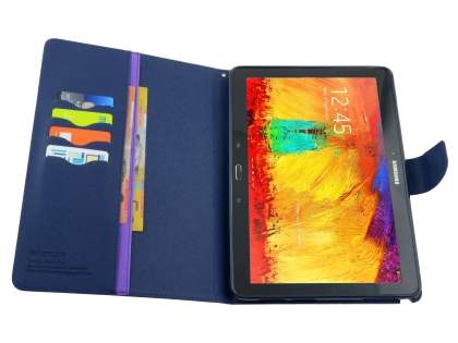Mercury Colour Fancy Diary Case with Stand for Samsung Galaxy Note 10.1 (2014 Edition) - Purple/Navy