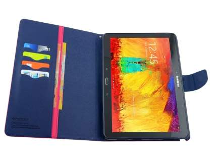 Mercury Colour Fancy Diary Case with Stand for Samsung Galaxy Note 10.1 (2014 Edition) - Hot Pink/Navy