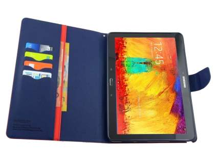 Mercury Goospery Colour Fancy Diary Case with Stand for Samsung Galaxy Note 10.1 (2014 Edition) - Red/Navy