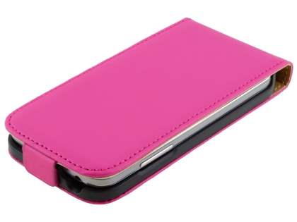 Slim Genuine Leather Flip Case for Samsung Galaxy S4 mini - Hot Pink