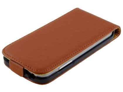 Slim Genuine Leather Flip Case for Samsung Galaxy S4 mini - Brown