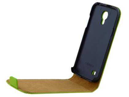 Samsung Galaxy S4 mini Slim Genuine Leather Flip Case - Lime Green