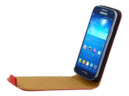 Slim Genuine Leather Flip Case for Samsung Galaxy S4 mini - Red