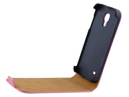Samsung Galaxy S4 mini Slim Genuine Leather Flip Case - Baby Pink