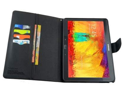 Mercury Colour Fancy Diary Case with Stand for Samsung Galaxy Note 10.1 (2014 Edition) - Classic Black