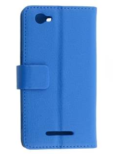 Sony Xperia M Slim Synthetic Leather Wallet Case with Stand - Blue