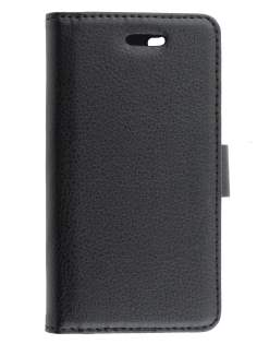 Synthetic Leather Wallet Case with Stand for Sony Xperia M - Classic Black Leather Wallet Case