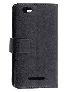 Sony Xperia M Slim Synthetic Leather Wallet Case with Stand - Classic Black