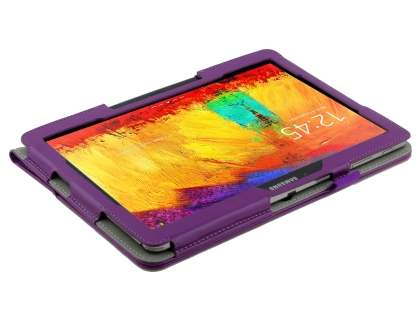 Samsung Galaxy Note 10.1 (2014 Edition) Synthetic Leather Flip Case with Fold-Back Stand - Purple