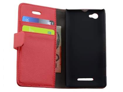 Synthetic Leather Wallet Case with Stand for Sony Xperia M - Red