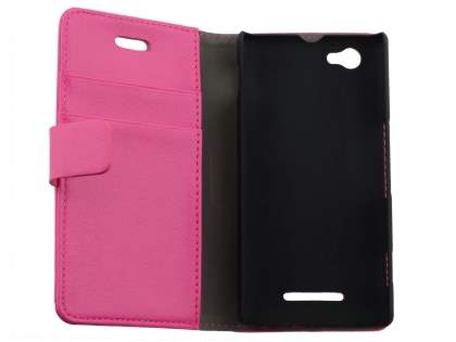 Sony Xperia M Slim Synthetic Leather Wallet Case with Stand - Pink