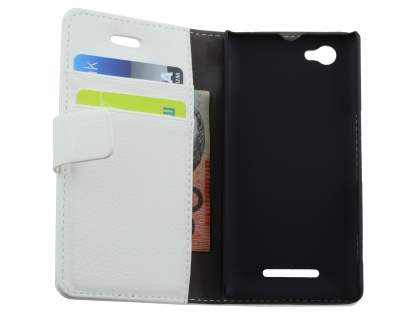 Sony Xperia M Slim Synthetic Leather Wallet Case with Stand - Pearl White