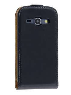 Slim Genuine Leather Flip Case for Samsung Galaxy Ace 3 - Classic Black Leather Flip Case